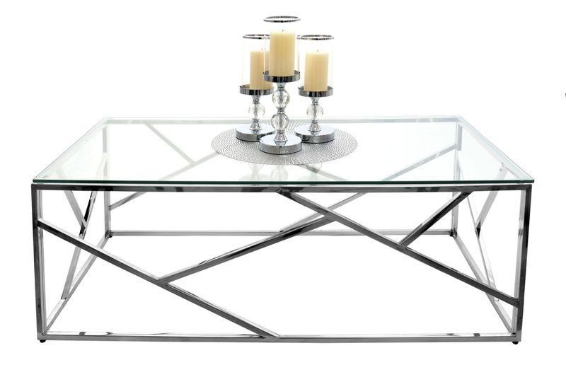 Stolik Kawowy Chrom Szkło 120x60 Modern Design Ct 020
