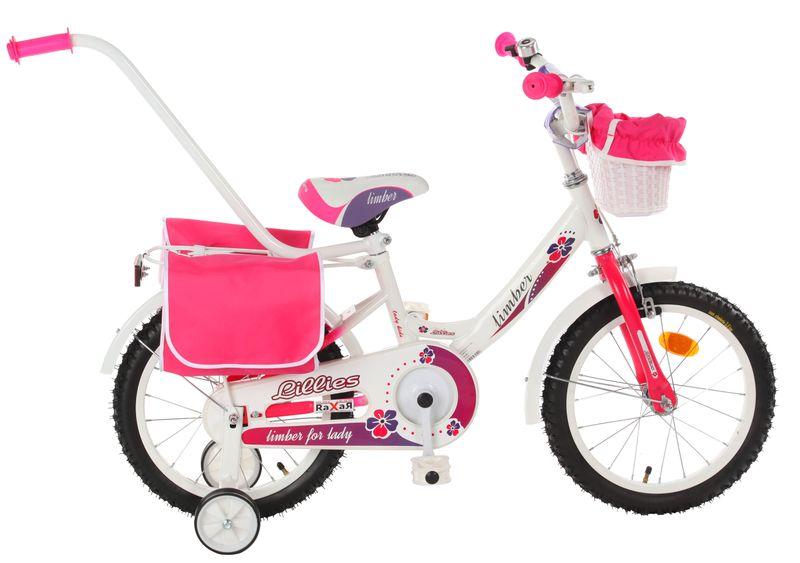 ROWEREK Lillies 16 Limber dla dziewczynki miejski Rower + kosz + sakwy zdjęcie 8