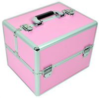Kuferek kosmetyczny mały 6 półek różowy