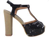 Czarne sandały na platformie i klocku z cekinami 36