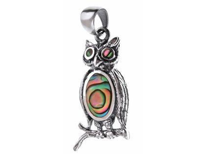 Elegancki oksydowany srebrny wisior sowa z masą perłową srebro 925 W0058