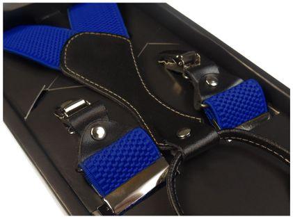 Niebieskie szelki męskie do spodni Modini Prestige - Wysoka jakość