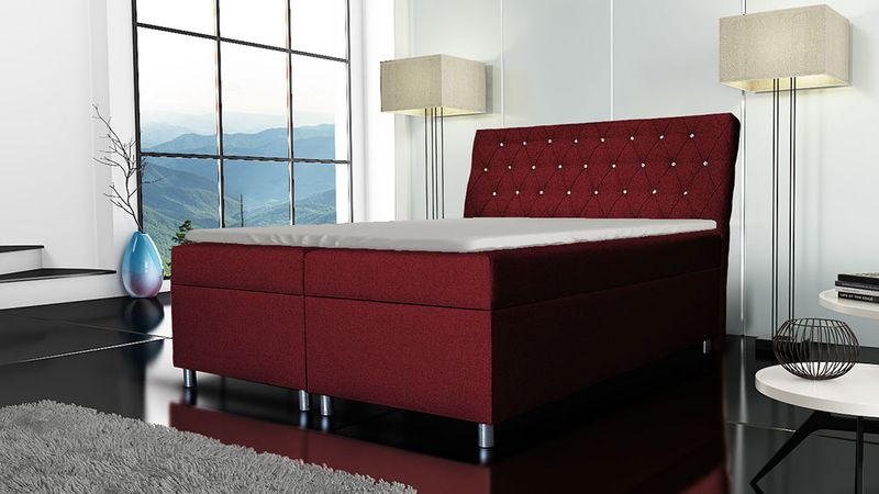 Łóżko tapicerowane kontynentalne 140x200 z materacem pojemnikiem zdjęcie 1