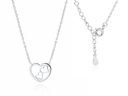 Delikatny rodowany srebrny naszyjnik gwiazd celebrytka serca serduszka heart srebro 925 Z1820NR