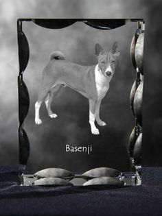 Basenji - kryształowy sześcian z wizerunkiem psa, wyjątkowy prezent!