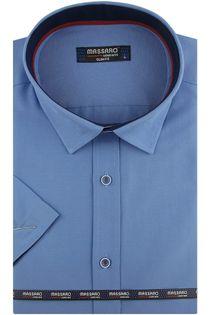 Koszula Męska Massaro gładka niebieska z krótkim rękawem w kroju SLIM FIT N008 M 39 176/182