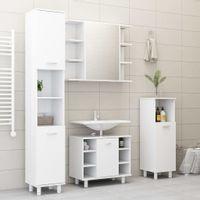 Szafka łazienkowa, biała, 30x30x179 cm, płyta wiórowa