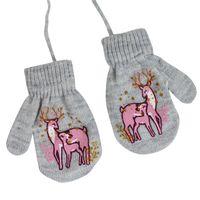 PEPCO Rękawiczki zimowe dziewczęce szary melanż