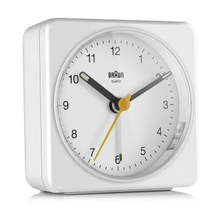 BRAUN BC03W Budzik wskazówkowy, podświetlenie, alarm, drzemka, szerokość ok. 8 cm