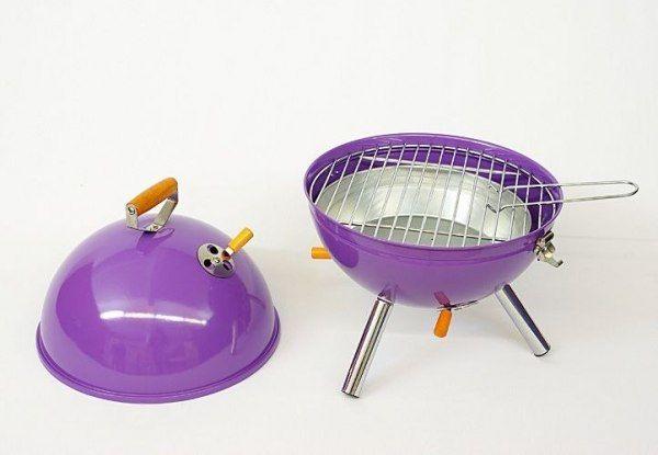 Grill ogrodowy węglowy okrągły, mini grill bbq kolor fioletowy zdjęcie 3