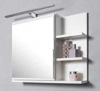 Szafka łazienkowa biała z lustrem i oświetleniem LED, wisząca