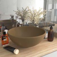 Okrągła umywalka łazienkowa, matowa kremowa, 32,5 x 14 cm