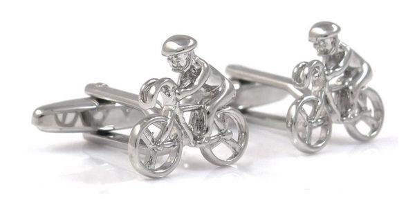 Srebrne spinki do mankietów - kolarz - rowery U86
