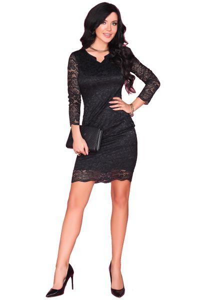 Koronkowa Sukienka przed kolano czarna bardzo seksowna M zdjęcie 3