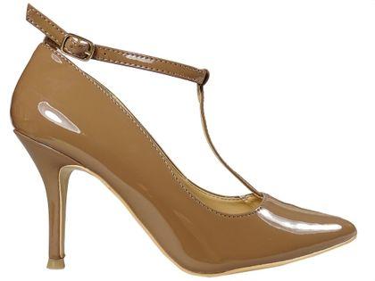 Beżowe szpilki z paskiem w kostce buty damskie 39