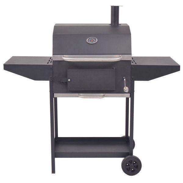 Grill węglowy z wędzarnią i dolną półką, czarny zdjęcie 3