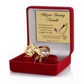 Pozłacany słonik SWAROVSKI prezent Chrzest GRAWER