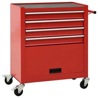 Wózek narzędziowy z 4 szufladami stalowy czerwony VidaXL