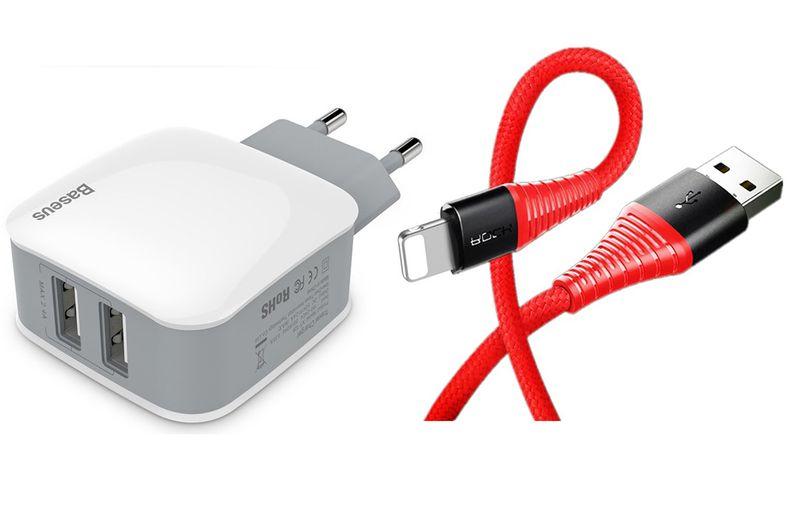 BASEUS ORYGINALNA 2X USB SZYBKA ŁADOWARKA + KABEL IPHONE SE 6S 7 8 X