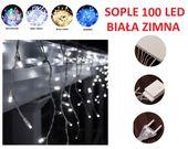 9x SOPLE 100 LED LAMPKI CHOINKOWE BIAŁE ZIMNE
