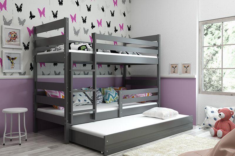 Łóżko piętrowe trzyosobowe Eryk 190x80 dla dzieci dziecięce + STELAŻ zdjęcie 4