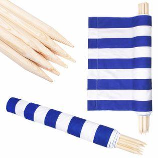 Parawan plażowy 6m niebieskie pasy