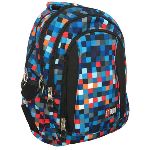 Trzykomorowy plecak szkolny St.Right 29 L, Pixelmania Blue BP4 na Arena.pl