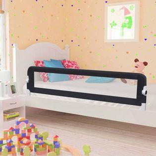 Barierka do łóżeczka dziecięcego szara 180x42cm poliester VidaXL