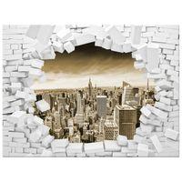 OBRAZ DRUKOWANY  Ściana z widokiem na miasto w sepii 40x30