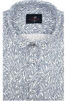 Lniana Koszula Męska Viadi Polo biała w listki SLIM FIT na krótki rękaw K937 XL 43 182/188